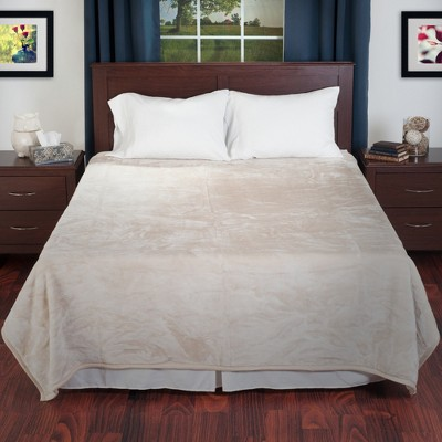 Yorkshire Home Solid Soft Heavy Thick Plush Mink Blanket - Beige (Queen)