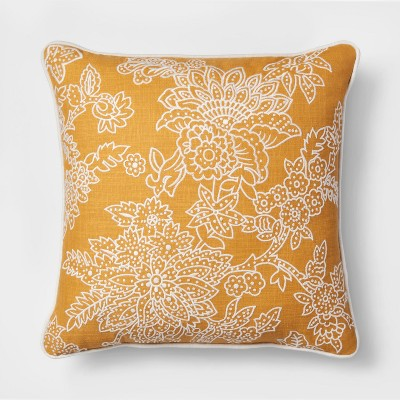 Floral Embroidered Square Throw Pillow Gold - Threshold™