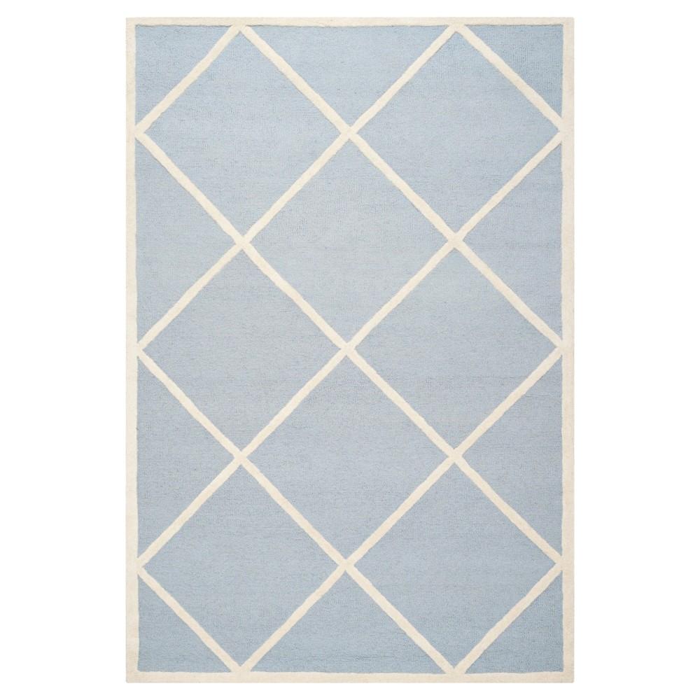6'X9' Geometric Area Rug Light Blue/Ivory - Safavieh
