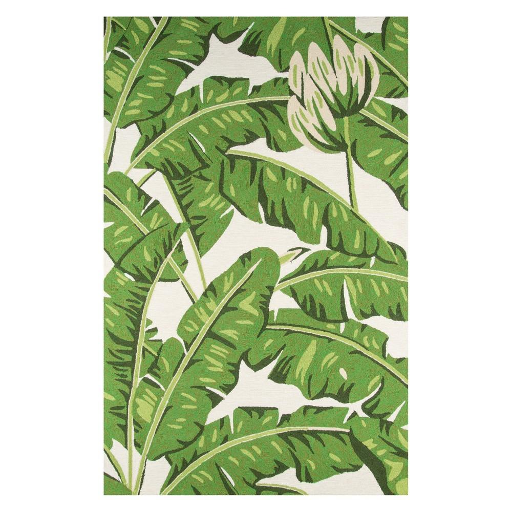 5'X8' Leaf Hooked Area Rug Green - Momeni