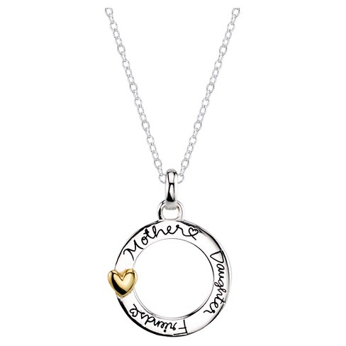 Women's 'Mother Daughter Friends Forever Necklace' in Sterling Silver - Gold - image 1 of 2