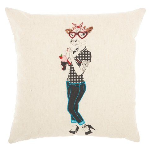 "Mina Victory 18""x18"" Milkshake Cow Throw Pillow Beige - image 1 of 2"