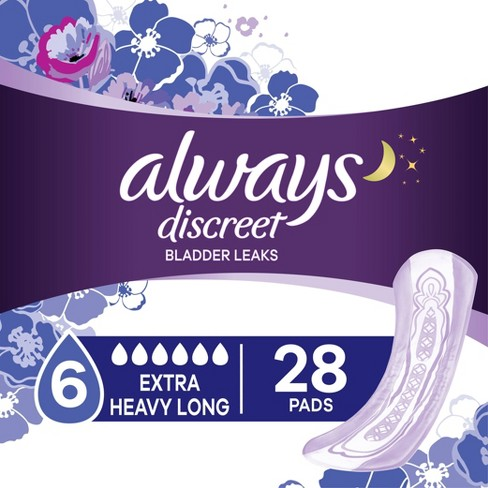 Always Discreet Incontinence and Postpartum Pads for Women - Extra Heavy Absorbency - Long Length - 28ct - image 1 of 4