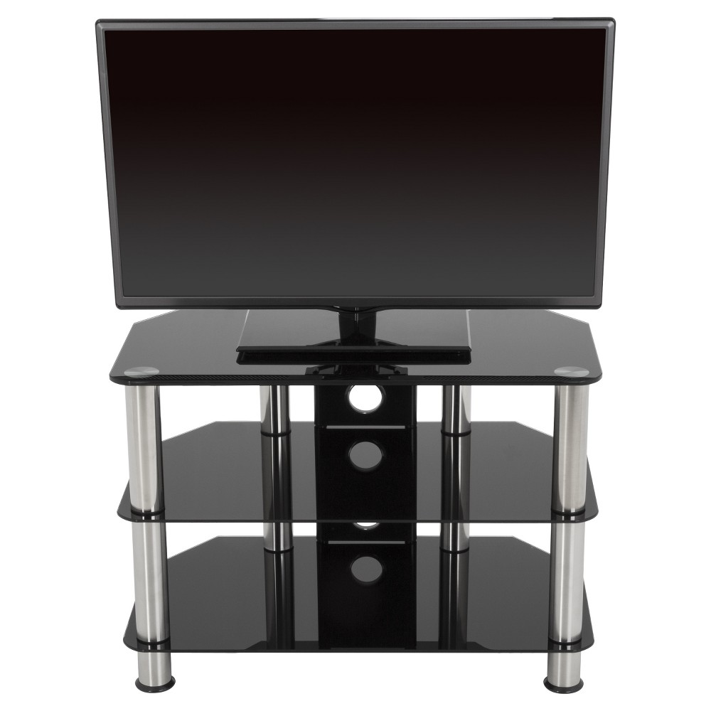 "Image of ""42"""" TV Stand with Cable Management - Silver/Black"""