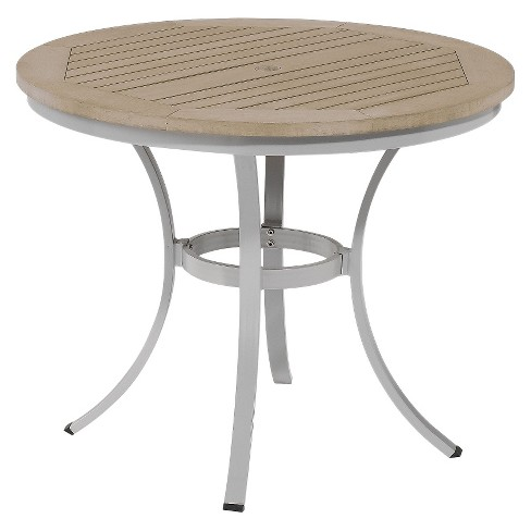 "Travira 36.5"" Metal/Faux Wood Patio Round Café Bistro Table - image 1 of 2"