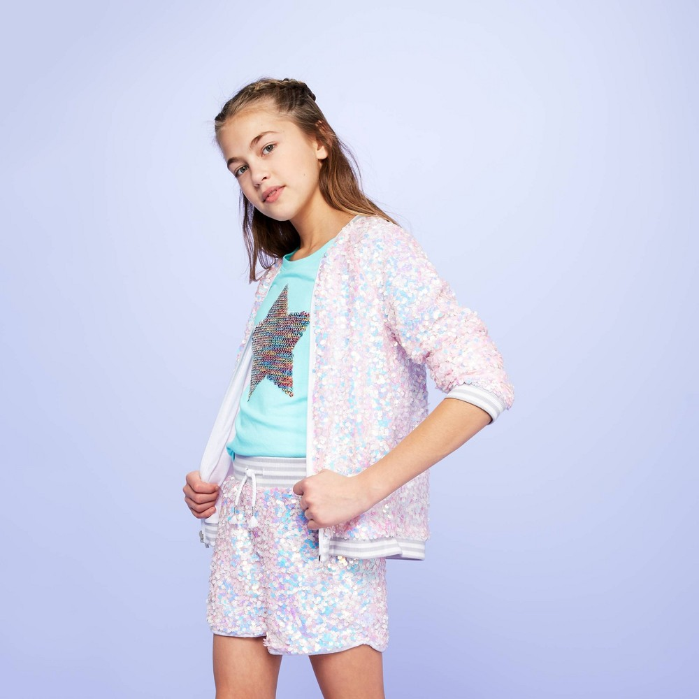 Image of Girls' Sequin Shorts - More Than Magic White L, Girl's, Size: Large