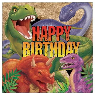 16ct Dino Birthday Napkins