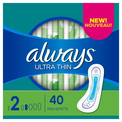 Always Ultra Thin Pads Size 2 Super Long Absorbency Unscented Without Wings - 40ct