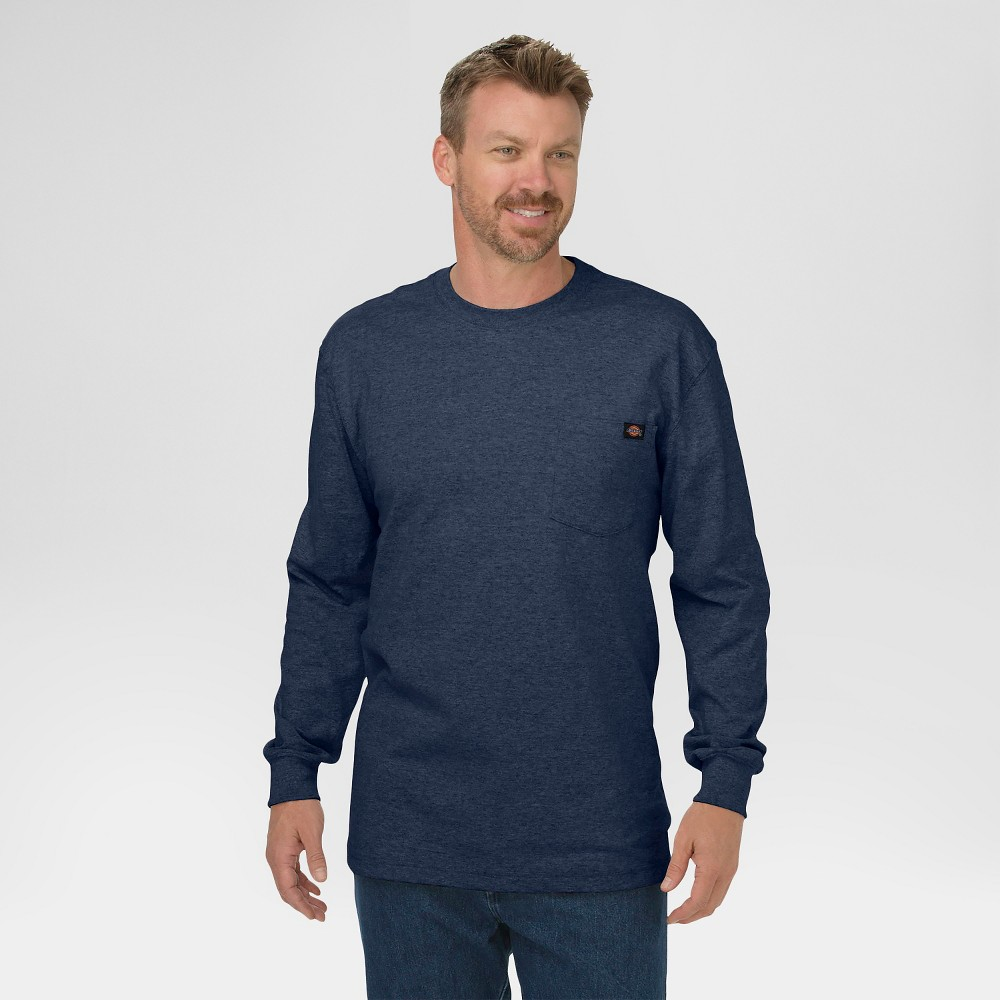 Dickies Men 39 S Tall Long Sleeve Heavyweight Crew Neck T Shirt Dark Navy 2xlt