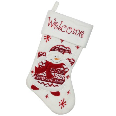 """Northlight 15.75"""" Red and White Welcome Snowman Embroidered Christmas Stocking"""