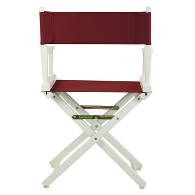 Burgundy White Frame Director's Chair, Red