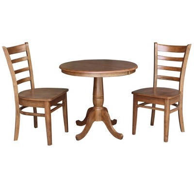 """36"""" Bill RoundExtendable Dining Table with 2 Chairs Distressed Oak - International Concepts"""