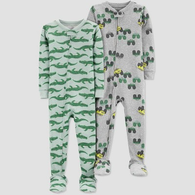 Baby Boys' 2pk Truck Footed Pajama - Just One You® made by carter's Gray/Green