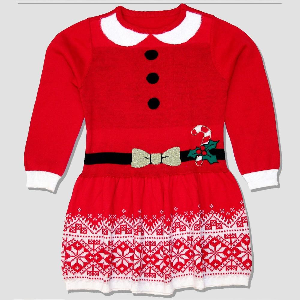 Well Worn Toddler Girls' Sweater Dress - Red 4T