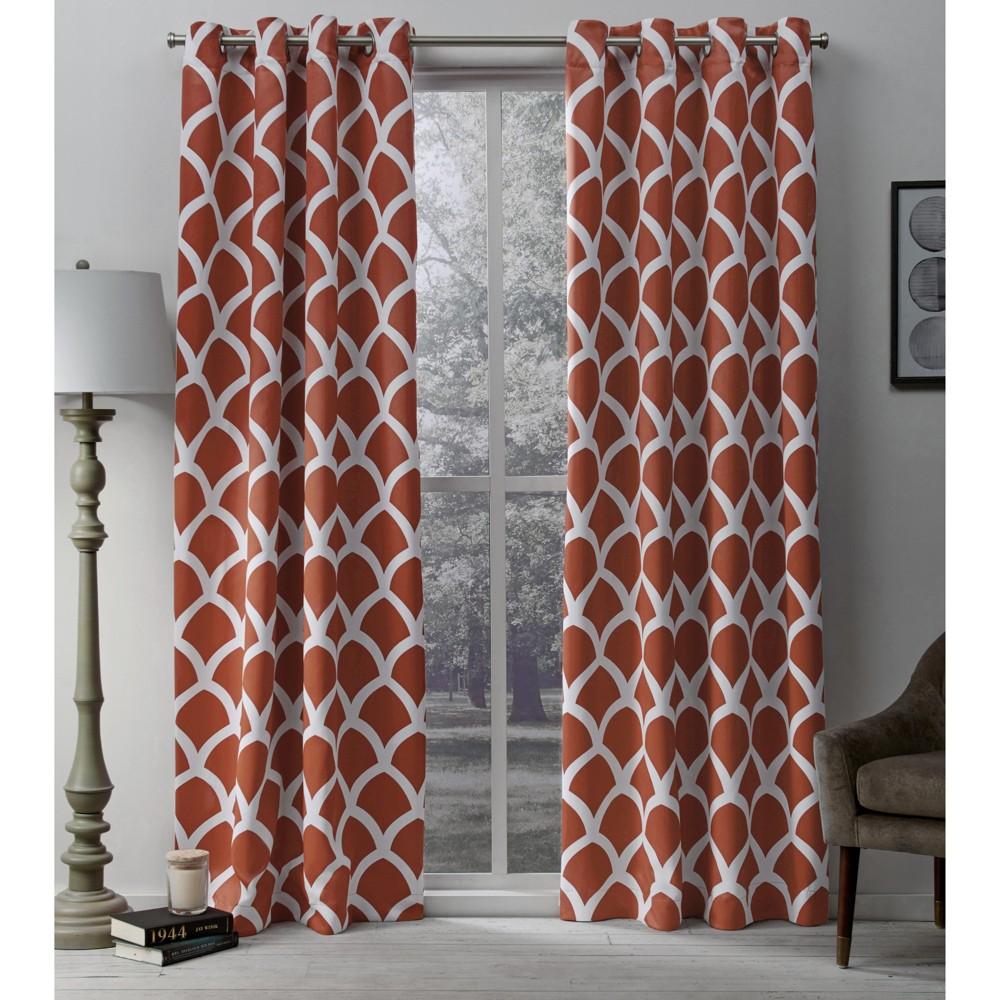 "Image of ""Durango Printed Geometric Sateen Woven Room Darkening Grommet Top Window Curtain Panel Pair Orange (52 X 108"""") - Exclusive Home"""