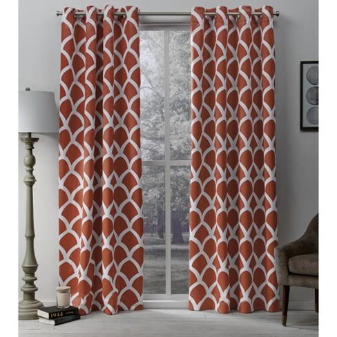 Durango Printed Geometric Sateen Woven Room Darkening Grommet Top Window Curtain Panel Pair - Exclusive Home™ - image 1 of 4