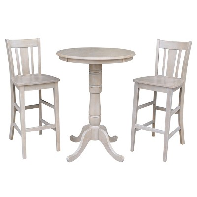 3pc Solid Wood Round Pedestal Bar Height Table and 2 San Remo Dining Sets Washed Gray Taupe - International Concepts