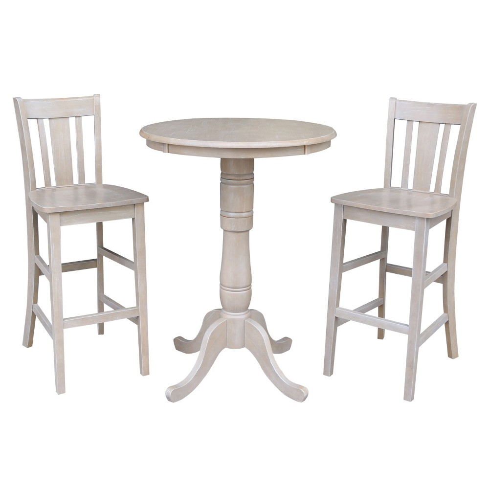 Solid Wood Round Pedestal Bar Height Table and 2 San Remo Stools Washed Gray Taupe (3pc Set) - International Concepts