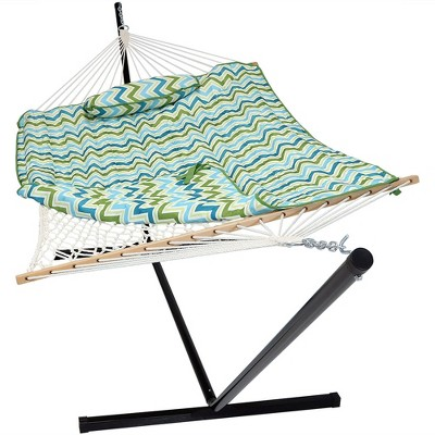 Rope Hammock with Quilted Pad/Pillow and Stand - Blue/Green Chevron - Sunnydaze Decor