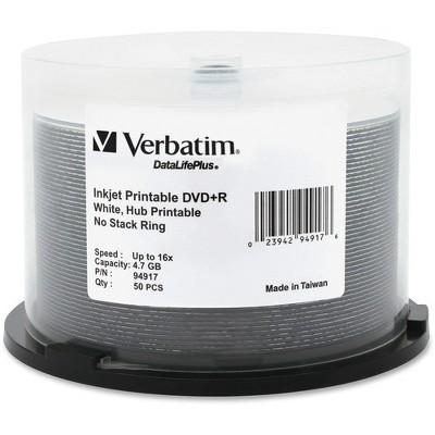Verbatim DVD+R 4.7GB 16X DataLifePlus White Inkjet Printable, Hub Printable - 50pk Spindle - Inkjet Printable