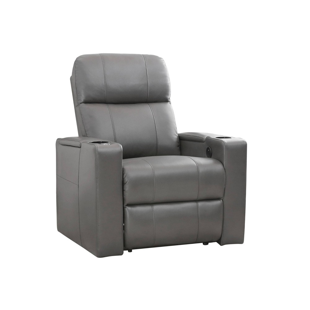 Ronnie Leather Power Theatre Recliner Gray - Abbyson Living