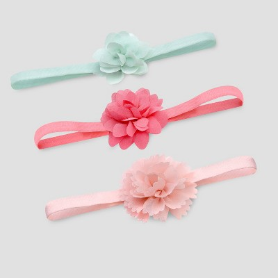 Baby Girls' 3pk Plume Headwraps - Just One You® made by carter's Pink/Mint One Size