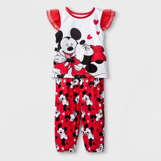 Toddler Girls' Minnie Mouse 2pc Pajama Set - White 3T
