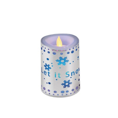 "Diva At Home 4"" Silver Colored  ""Let it Snow"" Flameless Candle with Flickering LED Lights"