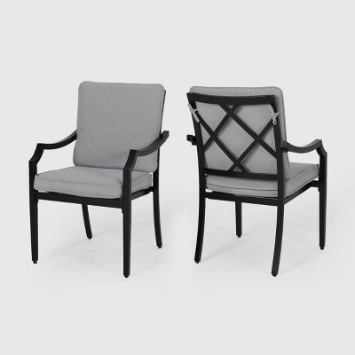 San Diego 2pk Aluminum Dining Chairs with Cushions - Matte Black/Light Gray