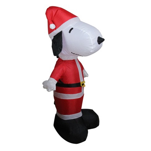 Arett Sales 3.5' Inflatable Peanuts LED Lighted Snoopy Santa Claus Christmas Outdoor Decoration : Target