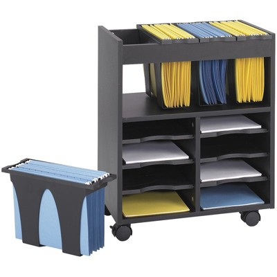 Steel 8 Compartment Go Cart Mobile Wood Letter File Cart in Black-Safco