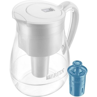 Brita Water Filter Monterey 10-Cup Water Pitcher Dispensers with Longlast Water Filter - White