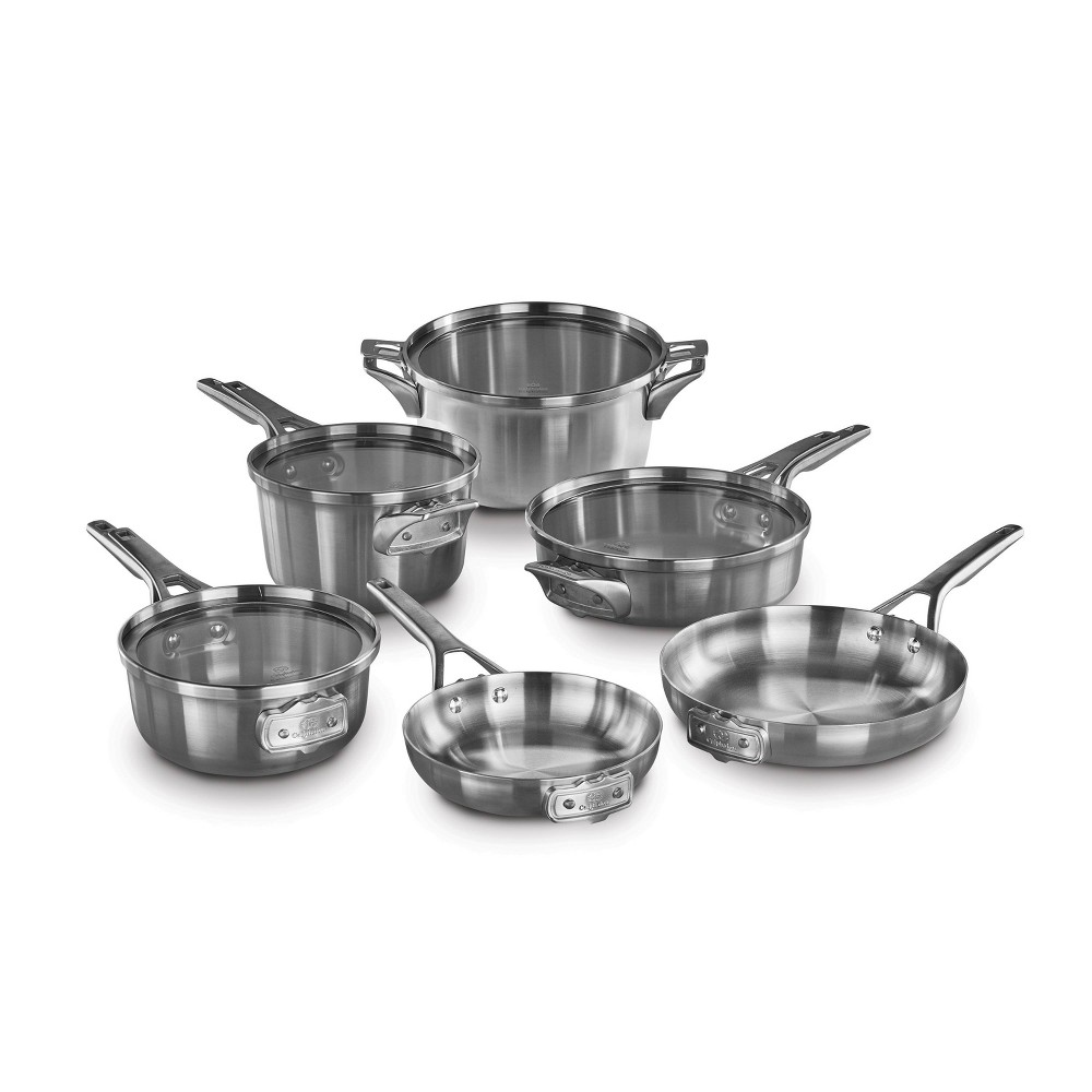 Image of Calphalon Premier 10pc Stainless Steel Space Saving Cookware Set