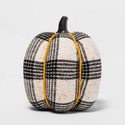 """8.5"""" Large Harvest Fabric Wrapped Pumpkin with Tweed/Plaid Speckle - Hyde & EEK! Boutique™"""