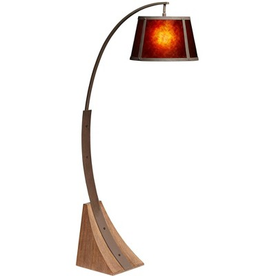 Franklin Iron Works Mission Arc Floor Lamp Dark Rust Metal Pole Oak Wooden Base Natural Mica Shade for Living Room Reading Bedroom