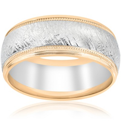 Pompeii3 14k White & Yellow Gold Men's Comfort Wedding 8MM Two Tone Etched Two Tone Band