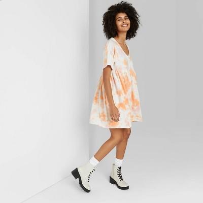 Women's Short Sleeve Babydoll Sweatshirt Dress - Wild Fable™