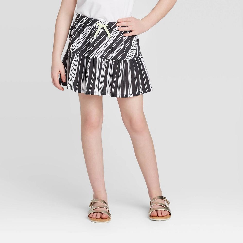 Image of Girls' Stripe Skort - Cat & Jack Charcoal L, Girl's, Size: Large, MultiColored
