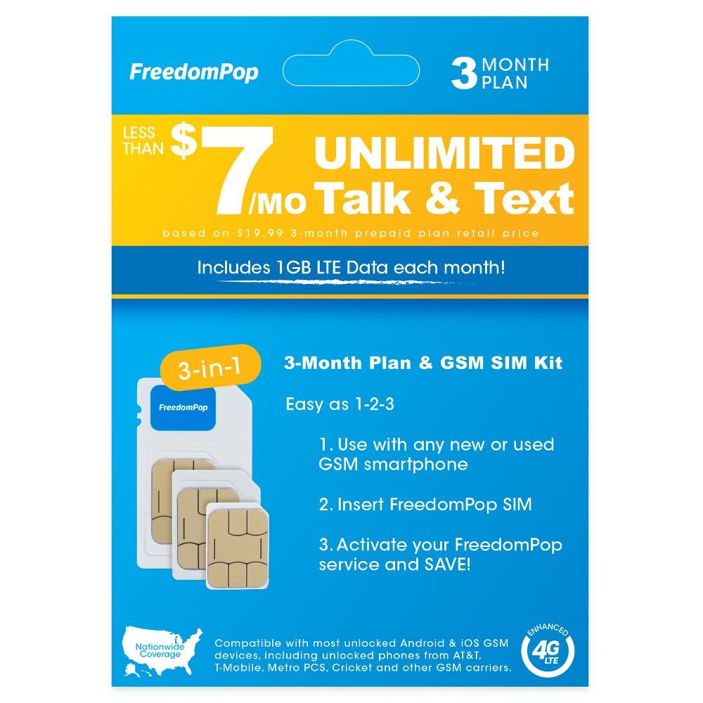 FreedomPop 3-in-1 Lte Sim Kit 3-Month Prepaid Plan (Unlimited Talk, Text, & 1GB Data), Black