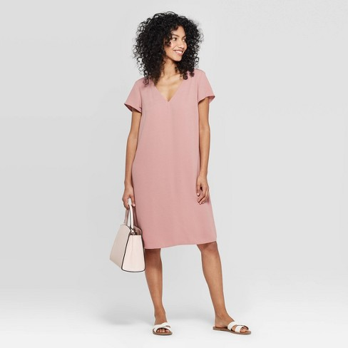 Women's Short Sleeve V-Neck Crepe Dress - A New Day™ Dark Pink - image 1 of 3