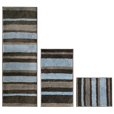 mDesign Striped Microfiber Bathroom Spa Mat Rugs/Runner, Set of 3
