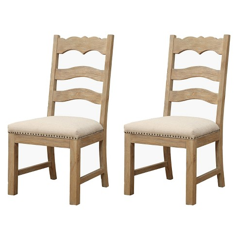 Emerald Home Barcelona Armless Modern Rustic Wood Dining Room Chair With Upholstered Seat Rustic Pine 2 Pack Target