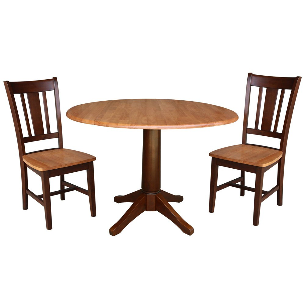 30.3 Round Top Pedestal Table with 2 Chairs Cinnamon/Espresso (Red/Brown) - International Concepts