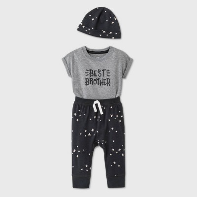 Baby Boys' Knit Best Brother Top & Bottom Set with Hat - Cat & Jack™ Gray 3-6M