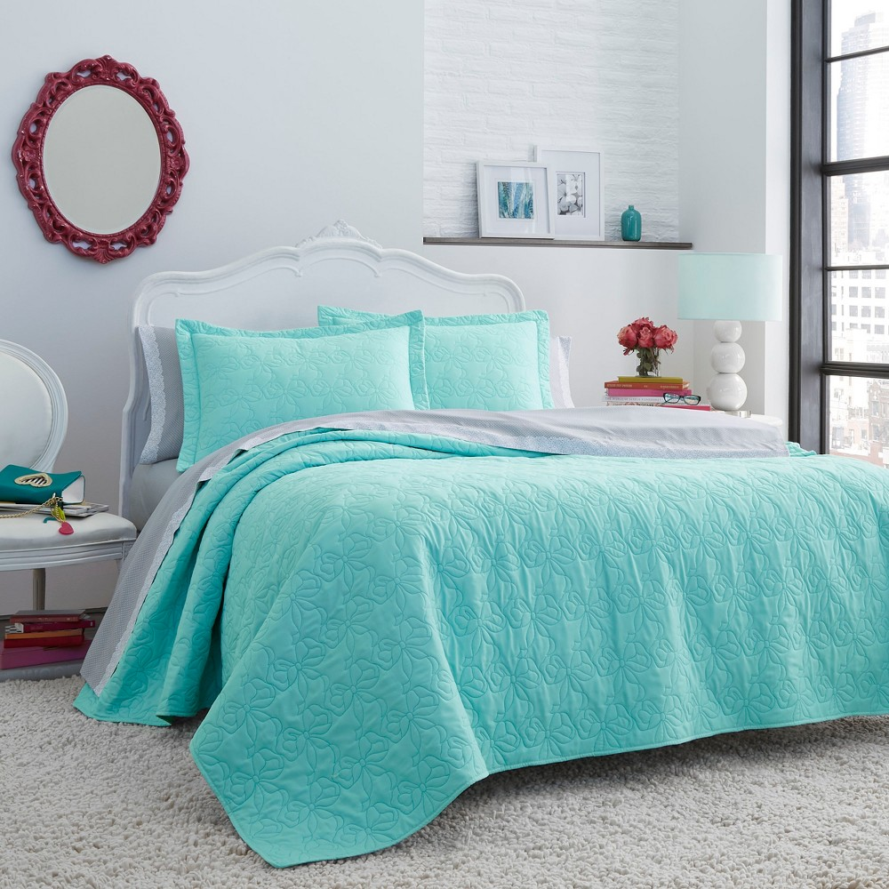 Image of King Betseys Bows Quilt Set Aqua - Betseyville, Blue
