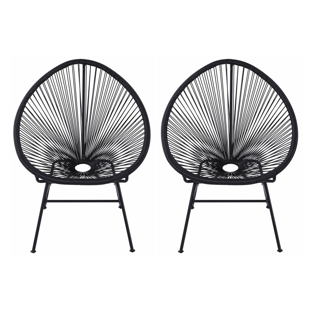 Image of 2pk Oval Metal Outdoor Lounge Chair Black - Nuu Garden