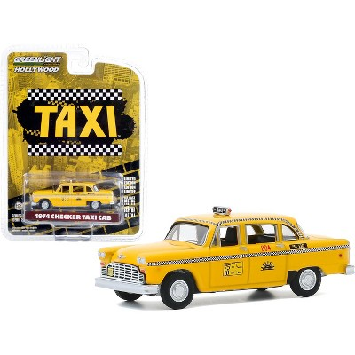 """1974 Checker Taxi Cab #804 Yellow """"Sunshine Cab Company"""" """"Taxi"""" (1978-1983) TV Series """"Hollywood Series"""" Release 29 1/64 Diecast Model Car Greenlight"""
