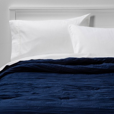 King Crinkle Texture Comforter Navy - Room Essentials™