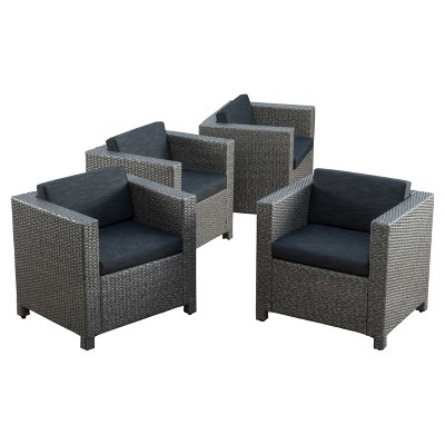 Puerta 4pk All-Weather Wicker Patio Club Chairs - Black - Christopher Knight Home