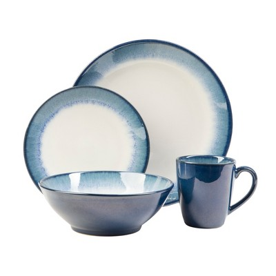 16pc Stoneware Novelle Dinnerware Set Blue - Sango